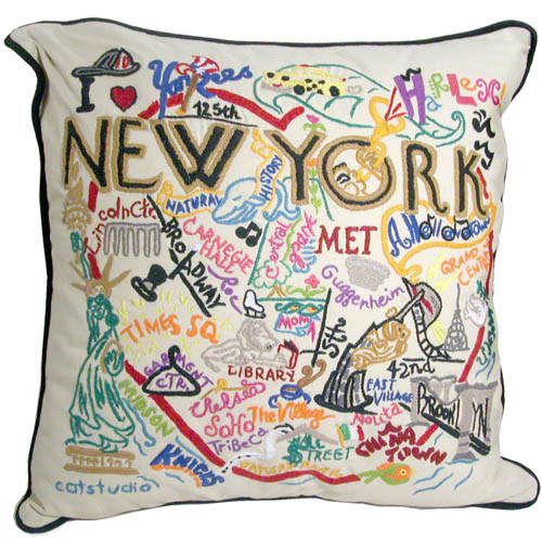 Hand embroidered nyc pillow